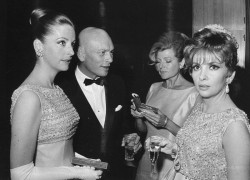 Yul Brynner, his wife, Rita Hayworth and Gina Lollobrigida at the premiere of The Poppies Are Also Flowers, 1966