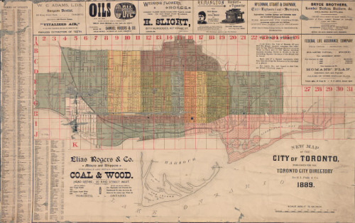 Map of the New City of Toronto, c. 1889, published for the Toronto City Directory /via Toronto Public Library