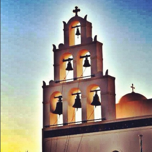 #bell #bells #sun #sunlight #gmy #all_shots #sunset #santorini #church #rememberingsummer #ig #igers #ink361 #igdaily #instagood #instamood #instagram #igersitalia #instagramitalia #igdaily  (Taken with instagram)