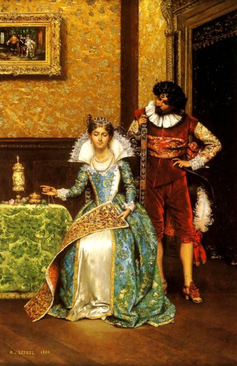 Adolphe Alexandre Lesrel  (French, 1839-1929)  –  The Attentive Courtier