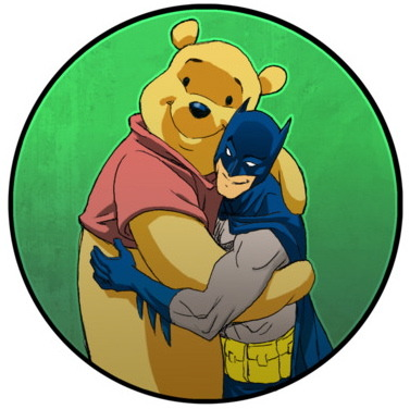 Bats and The Pooh, hugging it out! Via.
