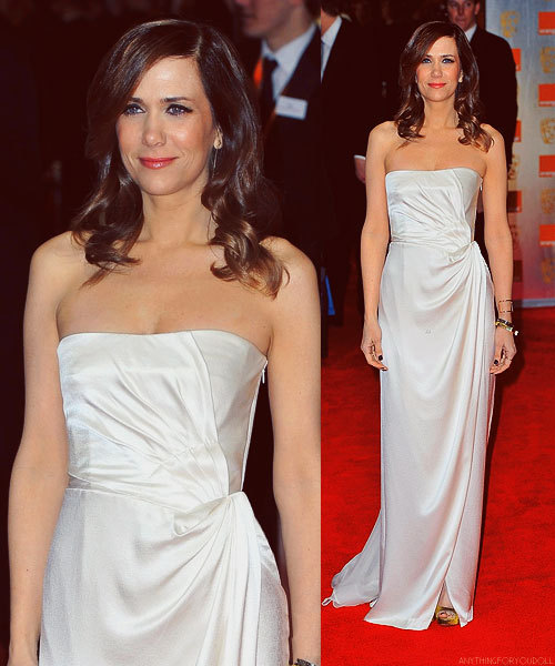 Kristen Wiig at the 2012 Orange British Academy Film Awards on February 12, 2012 in London  not over this look.