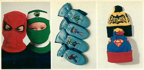 Superhero Winter Wear circa 1982 via the 1982 JCPenney Christmas Catalog