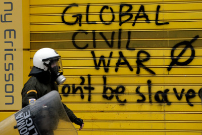 #EstamosConGrecia #12fgr Global Civil War. Don't be slaves. Greek Parliament just passed bailout while protesters burn out Athens.  Greece, you're not alone.  Image from the general strike in Athens on February 10th.
