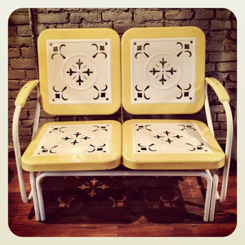 instajohnny:  Great furniture at Frank. #design #furniture #yellow #metal #austin #atx  (Taken with instagram)