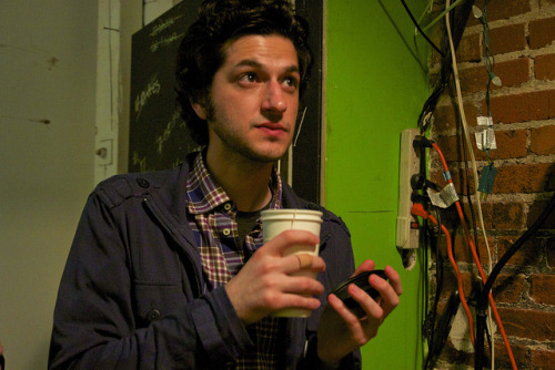 Ben Schwartz hanging backstage at the Hellogiggles show last night at UCB