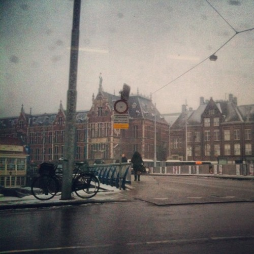 Snow at Amsterdam Station (Taken with Instagram at tram 26 amsterdam)