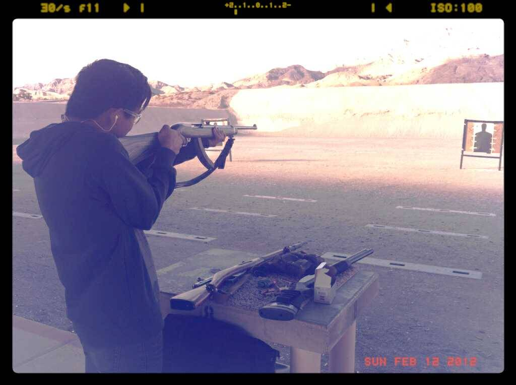 Being butch and firing guns.
