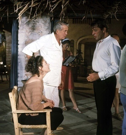 Ava Gardner, director John Huston and Richard Burton on the set of The night of the iguana.