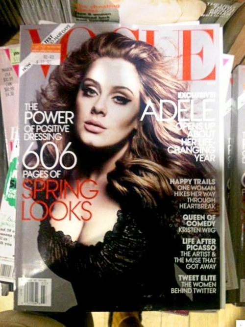 Adele Covers American Vogue At first I thought they heavily altered Adele for the recent Vogue cover, considering she carried around much more weight before.  But then I realized she actually has lost a ton of weight recently!  So this deserves props on both her US Vogue Cover, and for her weight loss! Well done.  [Via source]