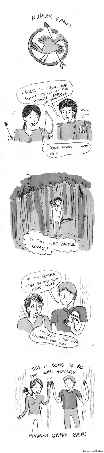 This is a comic I wrote about The Hunger Games without ever actually having read The Hunger Games. I'm sorry everyone.