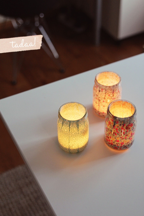 These votives are super cute! I think I will be making these for my sisters bridal shower. :)