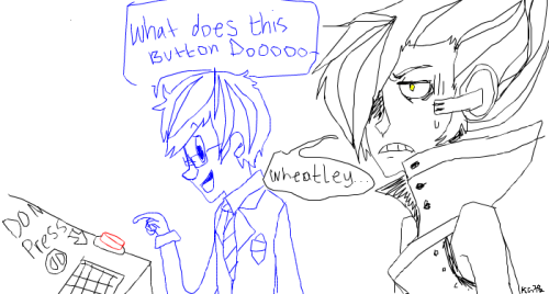 I forgot I drew this on Pchat until I went through my old stuff haha Dexter's Lab reference wit GLaDOS and Wheatley