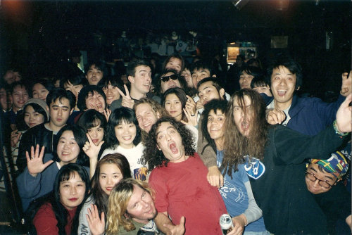 Love Battery with the crowd in Osaka, Japan, December 1993. Back, middle: Alex Shumway of Green River and Scott McCaughey of Love Battery tourmates the Young Fresh Fellows. (Photo by Michael Nichols; used with permission)