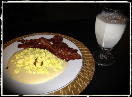 Breakfast for Dinner..aka Brinner!  Bacon, scrambled eggs, cheese grits and a glass of whole Vitamin D milk 😃