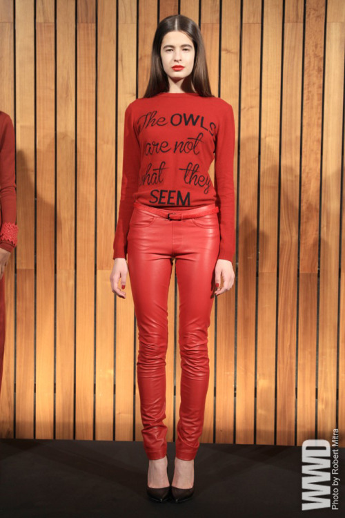 "Odilon RTW Fall 2012   Inspired by  ""Twin Peaks,"" Stacey Clark referenced the Black Lodge and its mysterious  secrets between the living and the dead turning out a tight  presentation that nodded to the TV series with the use of graphic zigzag  patterns, bold swaths of red and sweaters with the iconic phrase ""The  owls are not what they seem."""