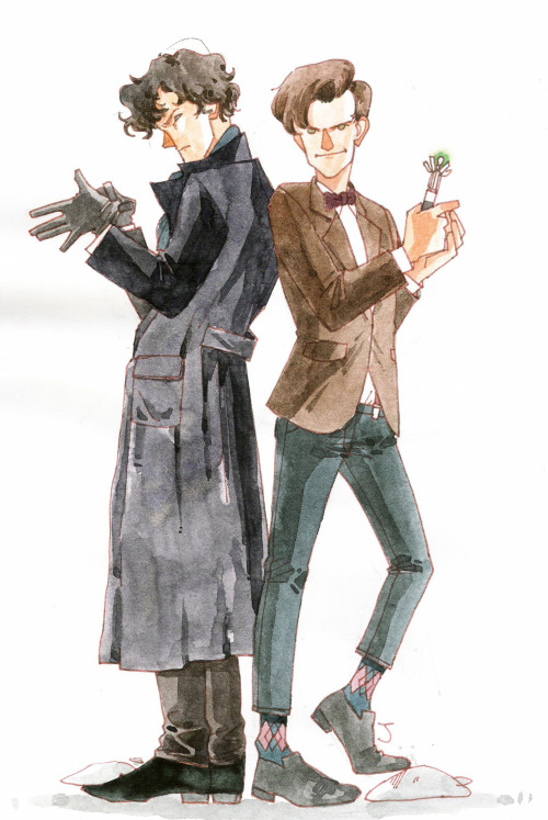 suedeoasiss:  Sherlock and 11th Doctor :-D My favorite BBC series!!!