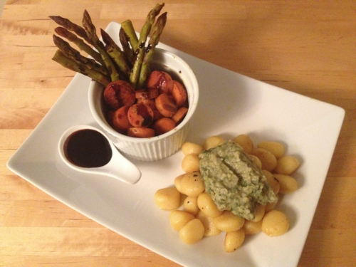 Gnocchi with veggies, balsamic reduction, and fava bean purée.