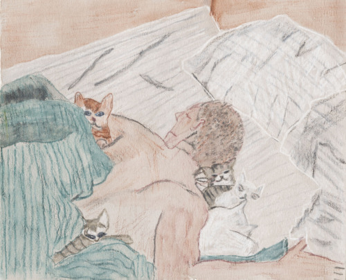 I HAD A DREAM I WAS YOUR HERO watercolor pencil on paper  Johnnie JungleGuts