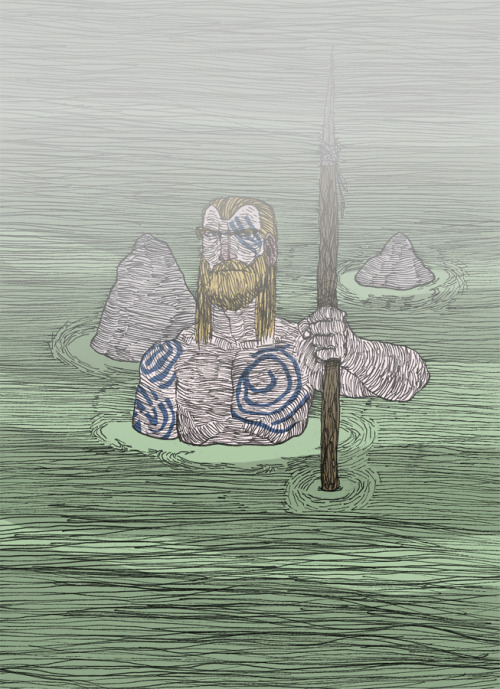 Celtic warrior in green water. I drew this over a year ago, finally colored it tonight.