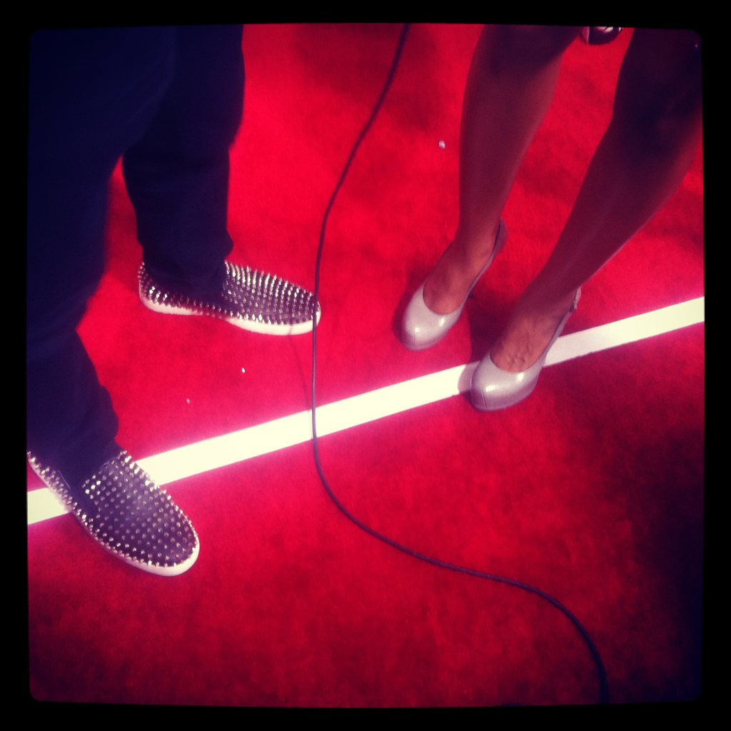David Guetta's cool shoes (next to VH1 correspondent Janell's cool shoes).