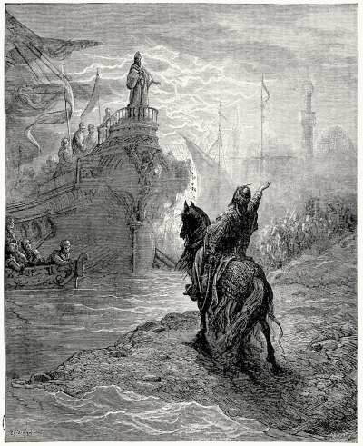 oldbookillustrations:  Parley between Mourzoufle and Dandolo. Gustave Doré, from Story of the crusades, by James P. Boyd, Philadelphia, 1892. (Source: archive.org)