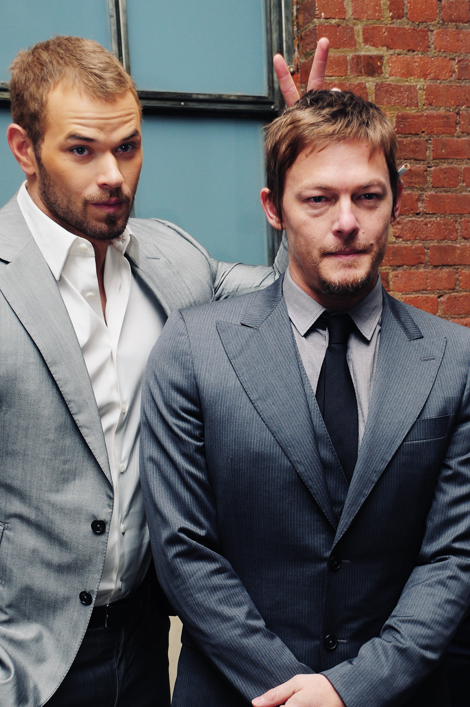 Kellan Lutz & Norman Reedus backstage @ the Simon Spurr show in Milk Studios