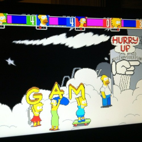 We were playing the 4 player nostalgia fest that is The Simpsons Arcade on PS3. We spelled out Gam's name! #simpsons #arcade #gaming #nostalgia #gaming #ps3 #classic #videogame #awesome (Taken with Instagram at Dren's LAN Paradise)
