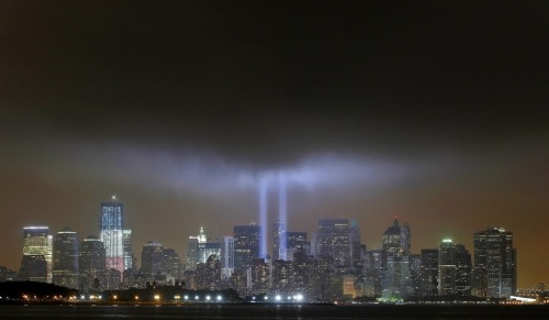Two lights from the former site of the World Trade Centers shine for the 10th anniversary of 9/11.  http://corkywilliamsjr.tumblr.com/  1~LOVE