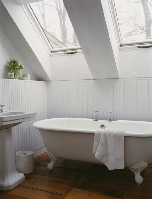 Messana O'Rorke: Ten Broeck Cottage  Love the tub and skylights! Follow CollegeGuyDesign if you like things like this showing up on your dash!