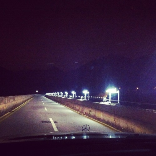 Taken last night, driving over the bridge that goes across Tai Tam reservoir. Sparkly.