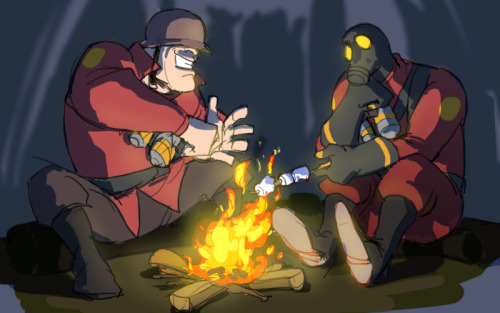 sintux555 said:  Something Soldier and Pyro related in a good way ^^    campfire!