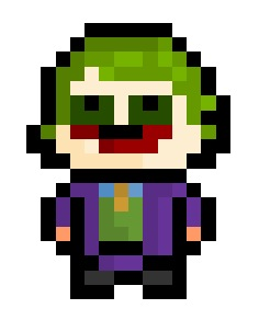 "The Joker 2.0, a remix of an earlier Joker sprite this time based on the famous portrayal by the late Heath Ledger.  On a side note : Anyone ever heard of an Actor named ""Simon Baker"" ? If there had to be a new Joker, I say give the role to that guy.  Requested by: http://cookierobinmonster.tumblr.com/"