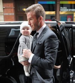 blankcan-vas:  blzrsndjckts:  David and Harper Beckham. Stylish family. The man looks too good in a suit.  cute baby!