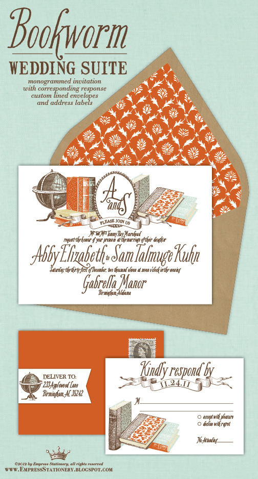 bookriot:  Bookish Wedding Planning :: The Invitations  Keeping this in mind for when my husband and I renew our vows for our 15th anniversary!