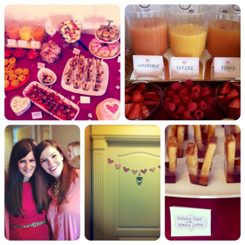 A Diptic photo recap of yesterday's fabulous Valentine's brunch 15 pretty ladies, yummy food, lots of pink and red, many (many) mimosas … just the perfect way to get our girlfriends together on a Sunday morning and celebrate a day that's not just about boys, fancy dinner reservations and flowers, but more about simply spending time with the people you care about. Pictures from top left to bottom right: 1) part of the table spread (including bacon-wrapped potato bites, mini crustless quiches, coffee cake muffins, low fat strawberry scones), 2) our make-your-own mimosa bar, 3) the hostesses - me and kate, 4) a red and pink heart garland on our front door, 5) french toast sticks with maple syrup *yum.