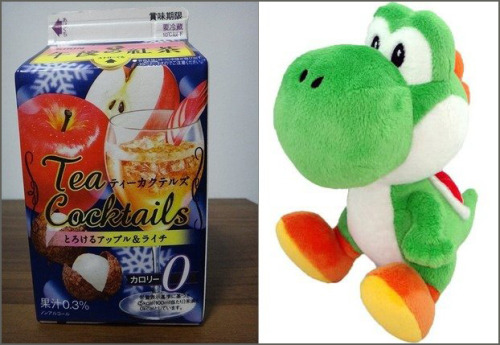 A Japanese Tea Cocktail carton appears to have a hidden Yoshi in it.  (via:Jin115)
