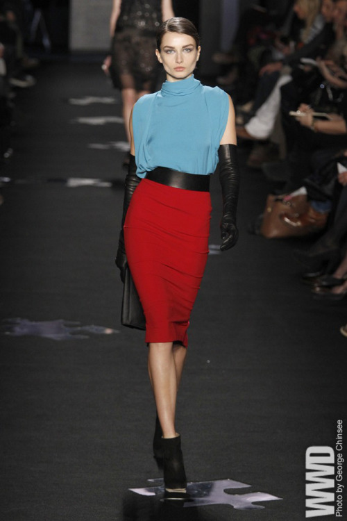 "womensweardaily:  Diane von Furstenberg RTW Fall 2012 The musings in her show notes — more extensive than any other New York  designer so far — crystallized the woman she had in mind. ""Glamorous at a  moment's notice,"" ""effortless and elaborate"" and with ""a heightened  awareness to the promise of places she has not yet been."""