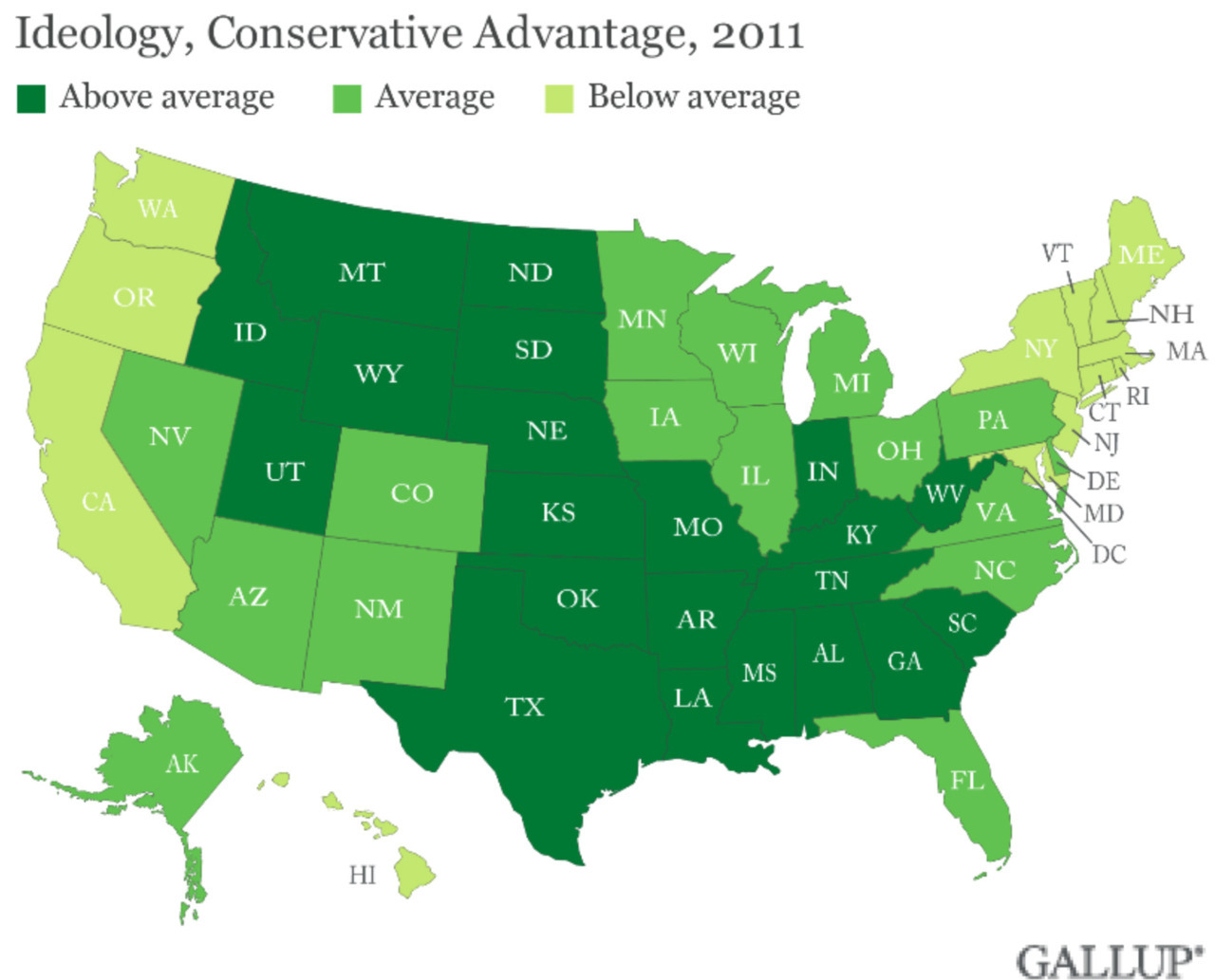 theatlantic:  Why America Keeps Getting More Conservative  The map above charts the ideological divide across America's states. There are four states where conservatives make up more than half the population: Mississippi, Utah, Wyoming, and Alabama. Conservatives make up more than 40 percent in 20 more states. Liberals now outnumber conservatives in just one state, Massachusetts, and the District of Columbia. The ongoing economic crisis appears to have deepened that conservative drift, which is most pronounced in its least well off, least educated, most blue collar, most economically hard-hit states. Read more. [Image: Gallup]