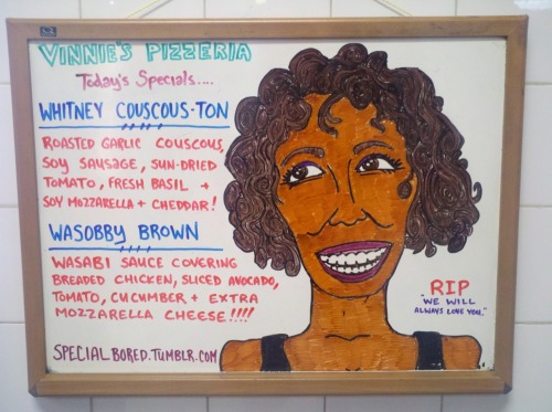 specialbored:  Rest In Pizza.  The best Whitney tribute is the pizza Whitney tribute.