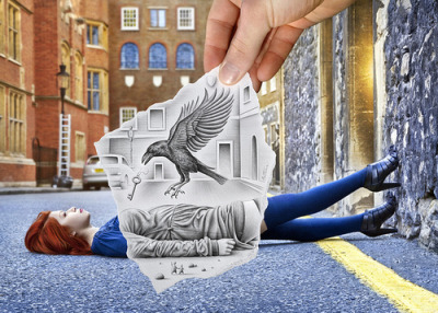 Raven's Key Pencil vs. Camera by Ben Heine