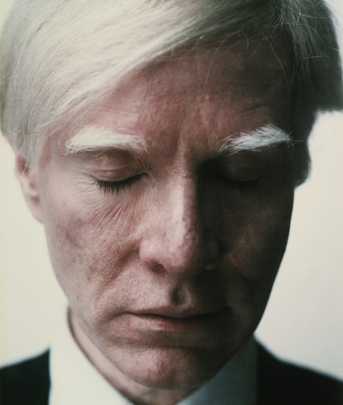"""Self Portrait (Eyes Closed)"". Taken by Warhol in 1979."