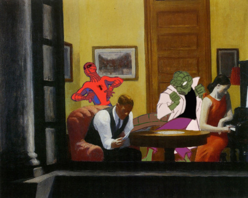 The Lizard and Spidey in a New York Room Artist: Edward hopperVillain: The Lizard (Spiderman Universe)  Original Painting: Room in New York http://www.wikipaintings.org/en/edward-hopper/not_detected_235607