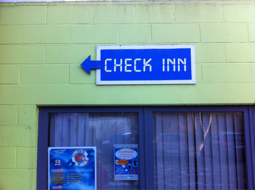 "Check Inn, the world's first (and best!) hotel-front-desk-themed hotel. ""Check in at Check Inn and you'll feel like you're checking in all day!"""