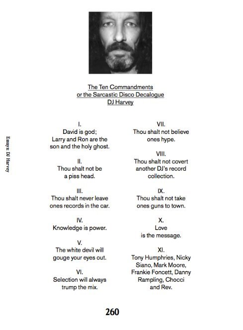 "‎""The Ten Commandments of the Sarcastic Disco Decaogue DJ Harvey""."