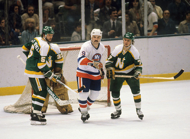 Bryan Trottier looks for position in front of the Minnesota net during Game 1 of the 1981 Stanley Cup Finals. The Islanders would go onto win the Cup, their second of four straight. On this day 30 years ago, Trottier scored five goals in a 8-2 victory over the Flyers. (Bruce Bennett/Getty Images)SI VAULT: Islanders blast North Stars to win second straight Stanley Cup (6.1.81)