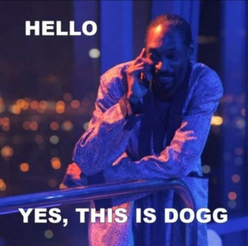 "Yes, This is Dogg   On the other end: ""Yes, this is drug dealer."