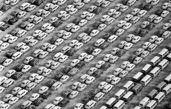 latimes:  Jan. 13, 1969: A sea of Volkswagen vehicles — mostly the famous Beetle model — sit at Terminal Island after unloading from a ship. Photo credit: John Malmin / Los Angeles Times