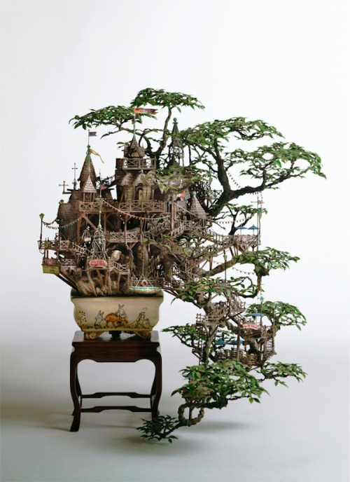 Mini Tree Castle of the Day: Japanese artist Takanori Aiba constructed an elaborate castle/fort for his bonsai tree using stone clay, epoxy putty, copper line, plastic, and resin.
