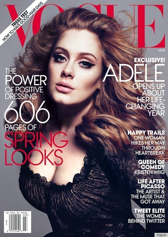 "Singer-Songwriter, Adele Covers Vogue [US], March 2012 Get The Look: Adele's Old World Beauty  ""I am quite loud and bolshie,"" she says (British slang for unruly and clamorous). ""I'm a big personality. I walk into a room, big and tall and loud."" Indeed. There is no doubt when Adele is in the building. The rule of thumb for protecting one's vocal cords, she tells me, is: If people are more than an arm's length away, you shouldn't talk to them. ""But I am like, Wah! Wah! Wah!,"" she says, laughing. ""It's really bad."""